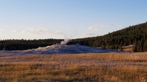 Old Faithful resting between eruptions in Yellowstone National Park Wy