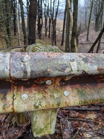 Old guardrail on abandoned roadway turned nature trail