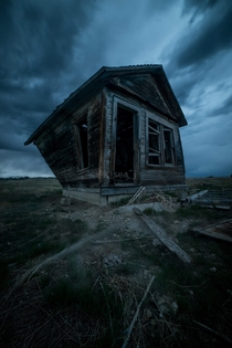 Old house in Shepard MT during a storm