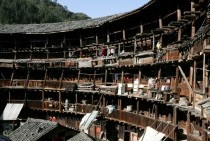 Old inhabited fortified Tulou building Fujian Province China