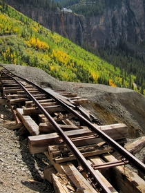 Old mining cart tracks above Telluride CO have seen better days