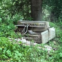 Old piano along a creek side road