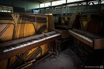 Old pianos stored in a former Electronics shop in Pripyat The shop originally sold televisions hi-fis and other household items  these pianos have been moved here after the city was evacuated