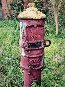 Old post valve indicator at a textile mill in South Carolina