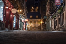 Old Quebec City Completely Empty at Night Canada