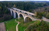 Old railway bridge in Stanczyki Poland Built in the beginning of the th Century by Germans and over  metres high