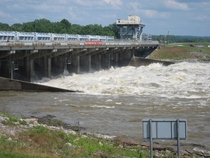 Old River Control Structure discharging water into the Atchafalaya