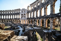 Old Roman Arena in coastal city of Pula Croatia
