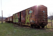 Old rusty rail car along the bike path Athens Ohio
