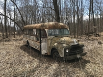 Old school bus turned into a motor home then left in the woods