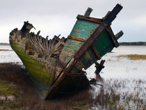 Old Ship Wreck Left To Rot On The Wyre Estuary Fleetwood Lancashire