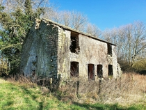 Old signalmans House by abandoned railway last occupied in s Somerset England
