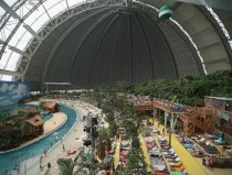 Old Soviet-era military airship hangar converted into a tropical resort in Krausnick Germany