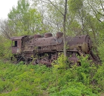 Old steam locomotive abandone in the woods