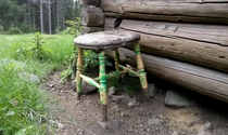 Old stool at an abandoned cottage in Norway