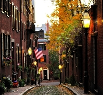Old streets of Boston in the fall