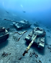 Old tanks left underwater