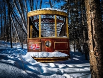 Old Toronto streetcar hidden in the woods about km north of the city