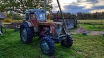 Old tractor abandoned in Segulda near Riga Latvia
