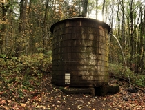 Old water tank in the woods Oregon