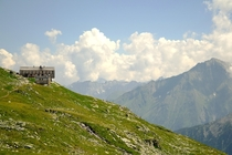 Olpererhtte mountain hut on m in the Zillertal Alps in Austria made entirely from biological materials