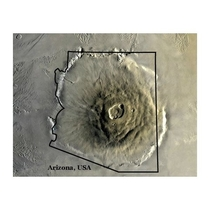 Olympus Mons overlaid on Arizona