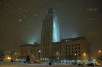 Ominous Camden New Jersey City Hall during Snowstorm