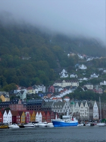 Ominous conditions in Bergen Norway with clouds covering Mount Flyen