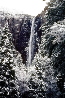On a beautiful wintry day Bridal Veil Falls Yosemite