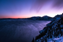 On a bitterly cold morning in February you can literally watch clouds form over your head on the rim of Crater Lake OR