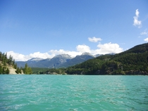 On a glacier fed lake beatiful but freezing cold BC Canada