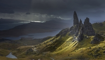 On a stormy autumn day a fleeting shaft of light illuminates the Old Man of Storr and other pinnacles of the Trotternish Ridge on the Isle of Skye Scotland  Garry Ridsdale  Smithsoniancom