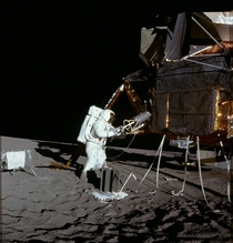 On Apollo  and later Apollo missions the scientific experiments were powered by Radioisotope Thermoelectric Generators RTG Here we see astronaut Alan Bean Apollo  lunar module pilot transferring  kilograms  lb of plutonium- from the lunar module to the RT