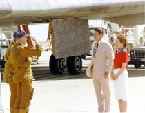 On July th  astronauts Mattingly and Hartsfield salute President Reagan after piloting Columbia on the final Space Shuttle test flight and landing at Edwards Air Force Base Afterwards Reagan gave a speech declaring the shuttle operational