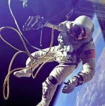 On June rd  Ed White became the first American to step outside his spacecraft and let go effectively setting himself adrift in the zero gravity of space For  minutes White floated and maneuvered himself around the Gemini spacecraft logging  miles during h