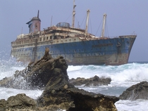 On New Years Eve  this ocean liner left Greece for Thailand towed by a tugboat The tow lines broke during a storm the ship was left adrift and on  January  it ran aground near Fuerteventura Canary Islands