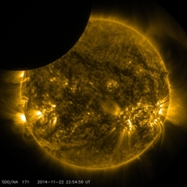 On Nov   from  to  pm EST the moon partially obscured the view of the sun from NASAs Solar Dynamics Observatory This phenomenon which is called a lunar transit could only be seen from SDOs point of view