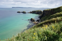 On our way to Carrick-a-Rede Rope Bridge near Ballintoy in County Antrim Northern Ireland
