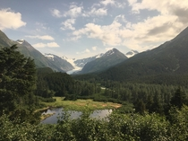 On the Alaskan railway to Seward near Kenai Fjords National Park