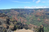 On the edge of Waimea Canyon Kauai also known as the Grand Canyon of the Pacific