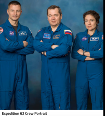 On the ISS now just a reminder there are  occupants on the ISS right now From left to right Andrew Morgan Oleg Skripochka and Jessica Meir