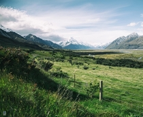 On the road to Mount Cook Canterbury New Zealand