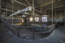 On The Running Track Inside the Gymnasium of the Abandoned Horace Mann High School