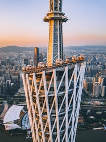 On the top of Canton Tower at sunset Guangzhou Credit to BO