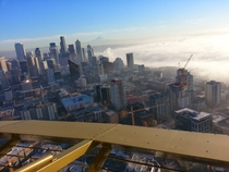 On top of the Space Needle in Seattle
