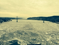 On top of the Walkway over the Hudson in Poughkeepsie NY looking south over a semi frozen hudson river OC