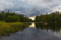 Oncoming storm over Keret river Karelia Russia
