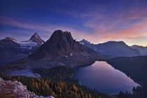 One hour after sunset the magnificent twilight illuminated on Mount Assiniboine  photo by Yan Zhang