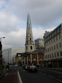 One of my favourite views in London - The Shard perfectly echoing the spire of St George The Martyr church