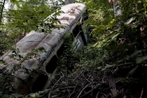 One of seven buses I found dumped in the woods  In Kansas City near the Kaw River